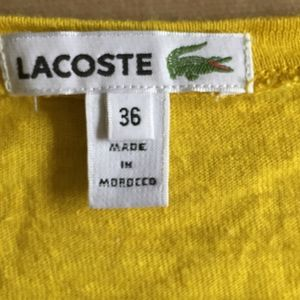 Lacoste Tops - Yellow Lacoste linen blend V-Neck tee shirt 36